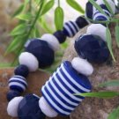 NEW TRENDY BLUE WHITE STRIPE BALL BRACELET