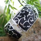 NEW BLACK SWIRL  HINGE BANGLE BRACELET