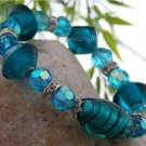 NEW SPARKLING BLUE  MURANO GLASS BRACELET