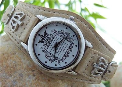 NEW TAN BROWN  CROWN LEATHER BELT BUCKLE WATCH