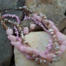 NEW PINK WESTERN NATURAL STONE NUGGET NECKLACE SET