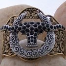 NEW BLACK WESTERN LONGHORN STEER BULL BANGLE BRACELET