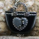 NEW BLACK LOCKET PURSE HANDBAG CHAIN KEYCHAIN FINDER