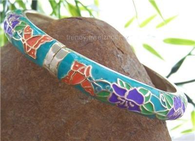 NEW BLUE AQUA FLOWER METAL HINGE BANGLE BRACELET