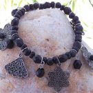 NEW BLACK FILIGREE FLOWER BEAD ANTIQUE STYLE BRACELET
