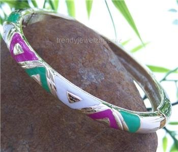 NEW HOT PINK AQUA WHITE METAL HINGE BANGLE BRACELET