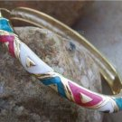 NEW PINK AQUA WHITE METAL HINGE BANGLE BRACELET