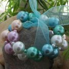 NEW MULTI COLOR FAUX PEARL 2 TWO PIECE BANGLE BRACELET