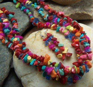 NEW RED MULTICOLOR 3 ROW WESTERN NUGGET NECKLACE SET