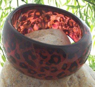 NEW BLACK RED LEOPARD CHEETAH ANIMAL PRINT BANGLE