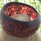 NEW BLACK RED LEOPARD CHEETAH ANIMAL PRINT BANGLE