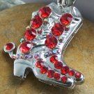 NEW RED WESTERN BOOT BOOTS CRYSTAL NECKLACE PENDANT