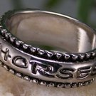 NEW WESTERN COWGIRL I LOVE HORSES 3 CRYSTAL RING SIZE 6