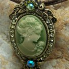 NEW GREEN ANTIQUE LOOK LADY CAMEO CRYSTAL NECKLACE