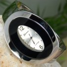 NEW SILVER TONE CIRCLE DISK SHAPE BRACELET BANGLE WATCH
