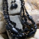 NEW BOHO BLACK MULTI STRAND NUGGET EARRING NECKLACE SET