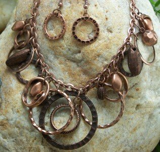 NEW ANTIQUE STYLE CIRCLE RING HOOP EARRING NECKLACE SET