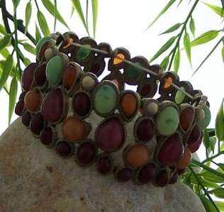 NEW MULTI COLOR ANTIQUE STYLE RED GREEN BANGLE BRACELET