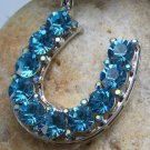 NEW BLUE WESTERN HORSESHOE HORSE SHOE CRYSTAL PENDANT