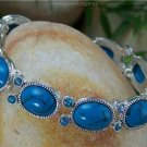 NEW BLUE SILVER TONE CRYSTAL OVAL BANGLE BRACELET