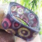 NEW MULTI COLOR CIRCLE GLITTER SQUARE BANGLE BRACELET