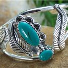 NEW FALL SILVER TONE LEAF LEAVES BLUE BANGLE BRACELET