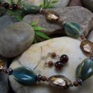 NEW BOHO GREEN BLUE BROWN GLASS MIXED BEAD NECKLACE SET