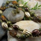 NEW LONG BOHO GREEN PATINA MIXED BEAD NECKLACE SET