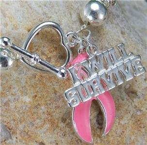 I Will Survive Pink Ribbon Breast Cancer Awareness Charm Bracelet
