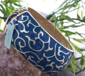 NEW TEAL BLUE SWIRL DESIGNER LOOK HINGE BANGLE BRACELET