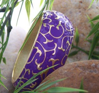 NEW PURPLE SWIRL  HINGE BANGLE BRACELET