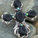 SEMIPRECIOUS BLACK RELIGIOUS WESTERN CROSS NUGGET NECKLACE SET