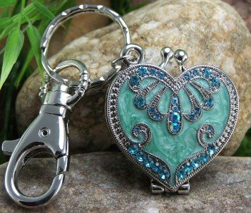 Blue Valentines Day Heart Love Locket Charm Keychain