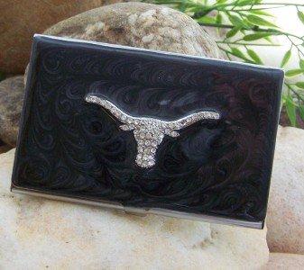 BLACK WESTERN LONGHORN BULL CREDIT BUSINESS CARD CASE