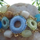 NEW BOHO MULTI COLOR BLUE THREE ROW BEAD RING BRACELET