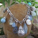 NEW BLUE SILVER TONE NATURAL SHELL CHARM BEAD BRACELET