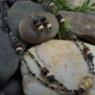 NEW LONG BOHO BLACK BROWN TAN MIXED BEAD NECKLACE SET