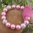NEW PINK SILVER TONE FAUX PEARL BEAD BRACELET