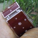 NEW BROWN CRYSTAL ENAMEL HINGE BANGLE METAL BRACELET