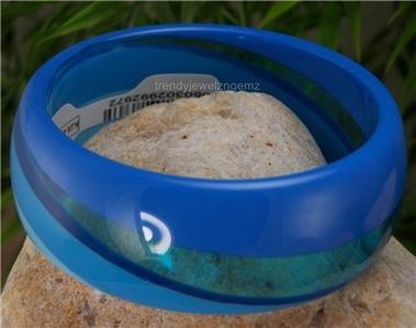 NEW BLUE SWIRL TRENDY ACRYLIC BANGLE BRACELET