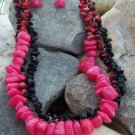 NEW RED BLACK WESTERN NATURAL NUGGET NECKLACE SET