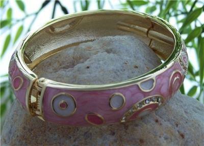 NEW PINK MULTI COLOR GOLD TONE HINGE BANGLE BRACELET
