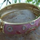 NEW PINK MULTI COLOR GOLD TONE HINGE BANGLE BRACELET