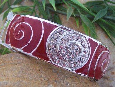 NEW RED CRYSTAL ENAMEL HINGE BANGLE METAL BRACELET