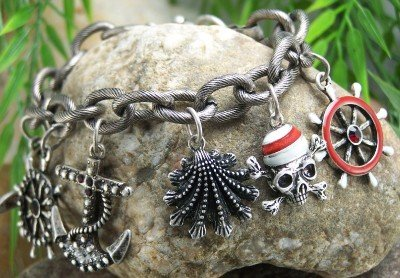 NEW RED PIRATE ANCHOR SHELL HELM SHIP SKULL BRACELET