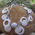 NEW SILVER TONE CIRCLE HOOP SEA SHELL CHARM BRACELET