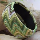 NEW GREEN BLACK BROWN WHITE FABRIC BANGLE BRACELET
