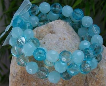 NEW BLUE TURQUOISE COLOR RIBBON GLASS BEAD BRACELET SET