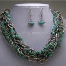 BLACK BLUE TURQUOISE WESTERN MULTISTRAND NECKLACE SET