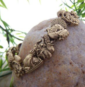 NEW ANTIQUE STYLE THANKSGIVING TURKEY CHARM BRACELET
